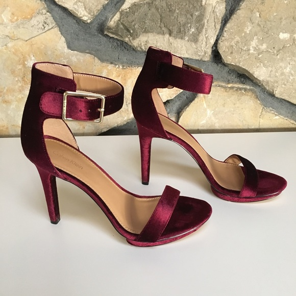 0bb081eb8c7 Calvin Klein Shoes - Calvin Klein Burgundy Velvet Vivian Heel Size 8.5